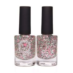 Glass Slipper Pink Teal Silver Glitter Nail Polish by ILoveNP