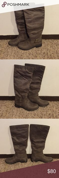 "🚨1 hour sale taupe boots New in box just fab boots. Calf was too small for me to wear with jeans, by the time I tried it was too late to return or exchange. My loss is your gain! They did arrive with scuff marks shown in the pictures. Heel height 1.25"" calf circumference based on size 8 15.5"" (increases or decreases by 0.5"" per whole size)  Price is firm unless bundled! Serafina Shoes Over the Knee Boots"