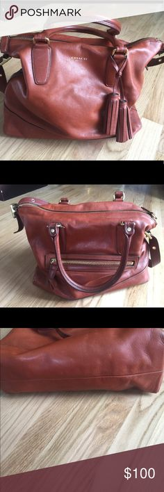 """Coach Legacy Rory Cognac Leather Satchel Coach Legacy Rory Cognac Leather Satchel, Good condition. Item # 19892 . Bottom corners have wear, pen marks on inside of bag. See photos. Strap included. Approx. : 14"""" (L) x 12"""" (H) x 5.5"""" (W) Coach Bags Satchels"""