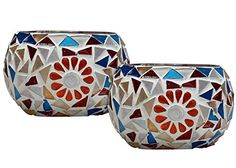 "SouvNear 4"" - Set of 2 Mosaic Glass Tealight Candle Holder - Handmade Votive Candle Holders - Colorful Centerpiece Tea Light Holders - Table Top Essentials / Home Decor & Housewarming Gifts - Party Decorations SouvNear http://www.amazon.com/dp/B00S1593GS/ref=cm_sw_r_pi_dp_MZ3swb024BEAS"