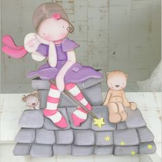 Siluetas madera infantil efecto pintado a mano - HADA SOBRE EL TEJADO