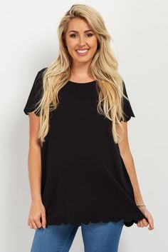 b66717787134e Black Solid Scalloped Hem Top Maternity Jeans, Maternity Tops, Scalloped Hem,  Ruffle Sleeve