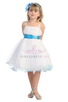 For Kelbs?  Turquoise accented waistband Mini tulle flower girl dress