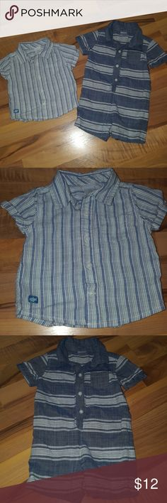 Baby Boys Gymboree Button-down & Romper Baby Boys Gymboree Blue Striped Button-down & Blue & White Striped Romper EUC no stains or signs of wear. Gymboree One Pieces
