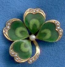 1900's 14K green enamel, seed pearls and gold four leaf lucky clover pin