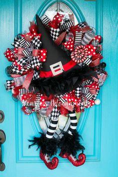 Halloween Witch Wreath, Halloween Wreath, Witch Legs Wreath, Wizard of Oz…