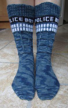 Tardis knitted socks!