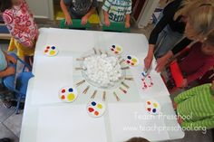 Cotton Ball Painting and building fine motor skills by Teach Preschool, love the group set-up. Kindergarten, Preschool Classroom, Preschool Art, Toddler Preschool, Preschool Activities, Leadership Activities, Classroom Ideas, Preschool Fine Motor Skills, Preschool Lessons