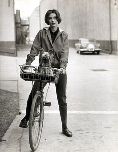 Audrey Hepburn riding a bike with her pet dog at Paramount Studios in 1957. The photographer was Sid Avery.