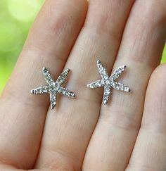Starfish Earrings. Beach Wedding Jewelry Bridal by annasinclair, $14.00