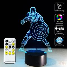 LED illusion CAPTAIN AMERICA 7 Color table Night Light Lamp Birthday Gift Holida