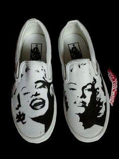 Hand Painted Custom Vans Shoes Marilyn Monroe by NadineBrittingham, Custom Vans Shoes, Custom Painted Shoes, Hand Painted Shoes, Painted Vans, On Shoes, Me Too Shoes, Shoe Boots, Shoes Heels, Marilyn Monroe Shoes
