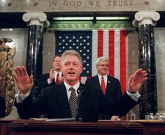 President Clinton delivers his 1998 State of the Union address while mired in…