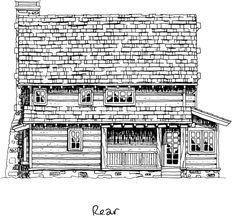 Cabin Craftsman Log Rear Elevation of Plan 43212
