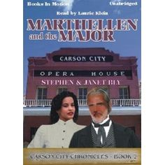 Click pin to get Marthellen & The Major by Stephen & Janet Bly (Carson City Chronicles Series). Cozy mystery novel. A land developer wins the affections of widow Marthellen Farnsworth, Judith Kingston's housekeeper & dearest friend. It takes him even less time to win the financial backing of the town's leading citizens when he presents a plan to build a health sanitarium on a mineral spring outside town. Read by Laurie Klein. App. 7.75 Hrs. Rated G. CD/MP3 download. $9.99