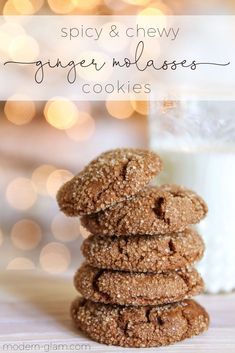 How to make the perfect chewy molasses cookies. The best ginger cookies with crystallized ginger bits that make for a yummy and spicy cookie. Easy recipe that requires no chill time. Ginger Molasses Cookies, Ginger Bread Cookies Recipe, Cookie Recipes, Dessert Recipes, Yummy Recipes, Trifle Desserts, Candy Recipes, Sweet Recipes, Best Christmas Cookies