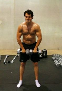 HenryCavill. This picture reminds me so much of one I have seen of Christopher Reeve working out when he was cast as Superman.