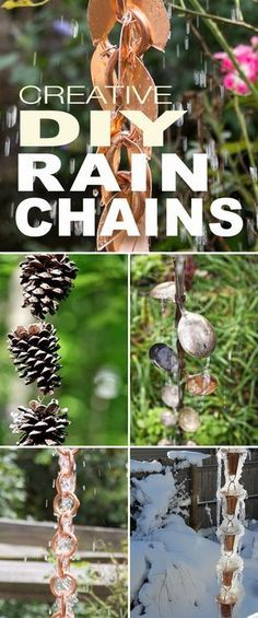 Creative DIY Rain Chains! • Browse our post to find lots of DIY projects and tutorials so that you can make your own rain chains! #DIYrainchains #rainchains #DIY #makeyourownrainchains #copperrainchains #DIYcopperrainchains