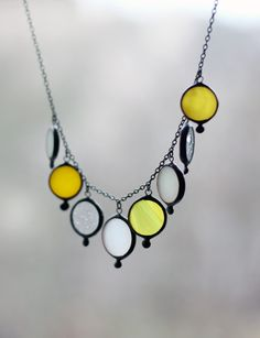 Delicate necklace from yellow, clear & white stained glass by ArtKvarta #artkvarta #necklace #jewellery #colorful #summer #staineglass #handmade #womensgift #unique #drops