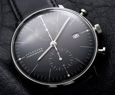 Junghans Chronoscope Max Bill. Automatic mechanical movement J880.2 with display for date, chronoscope with second stop, luminous hands and appliques, stainless steel case Ø 40.0 mm, convex hard Plexiglass with SICRALAN coating, milanaise bracelet with safety buckle, waterproof.