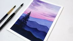 Watercolor Sunset, Watercolor Landscape Paintings, Watercolor Canvas, Easy Watercolor, Watercolor Trees, Watercolor Portraits, Mountains Watercolor, Watercolor Artists, Abstract Paintings