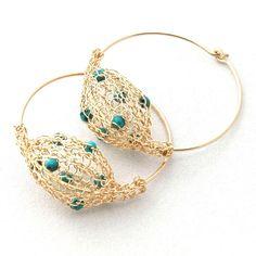 Unique gold hoop earrings wire crochet bubble turqouise by Yoola, $39.00