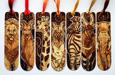 Pyrography African Animal Bookmarks by *BumbleBeeFairy on deviantART
