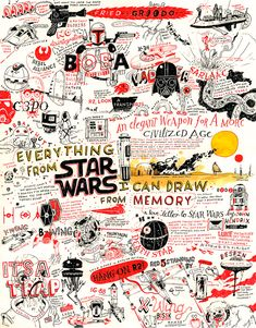 This Entire Awesome Star Wars Poster Was Illustrated From Memory - Star Wars Canvas - Latest and trending Star Wars Canvas. - This Entire Awesome Star Wars Poster Was Illustrated From Memory Star Wars Fan Art, Star Trek, Star Wars Poster, Star Ears, Star Wars Dark Side, Star Wars Desenho, John Hendrix, Poster Drawing, War Film