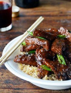 Mongolian Venison Steak over rice