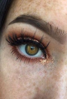 Bronze Glitter Eye Drop + Copper Eyelid + Classic Liner + Lashes