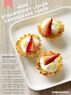 Mini Strawberry Lemon Cheesecake Tarts. These 1 PointPlus value bite-size treats make a great Valentine's Day dessert!