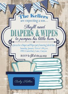 Diaper Party Invitation/Man Shower Invitation by thejivehive ...