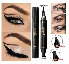 Beauty Essentials 1pc Double-headed Seal Black Eyeliner Triangle Seal Eyeliner 2-in-1 Waterproof Eyes Make Kit With Eyeliner Pen New Sufficient Supply