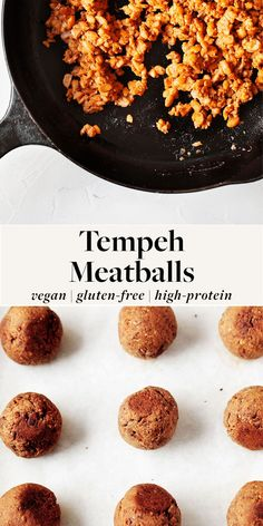 These vegan tempeh meatballs are a healthy and high-protein plant-based version of traditional meatballs! They're easy to make and super versatile. Use them to give any pasta dish a boost of plant protein. #vegan #vegetarian Vegetarian Meatballs, Vegan Vegetarian, Vegetarian Recipes, Vegan Meals, Tempeh, Tofu, Seitan, Vegan Protein, High Protein