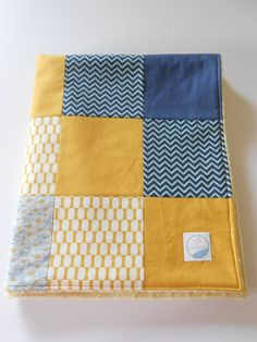 Minky Baby Boy Patchwork Quilt Blanket Moda by KristensCoverlets