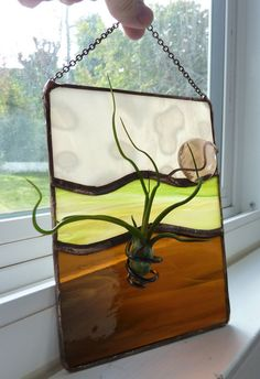 Stained glass Panel Air Plant Holder   Of the Earth by glassetc
