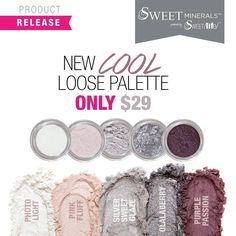 Sweet Minerals Cool Toned Palette - 5 Mineral Eye shadows - FREE SHIPPING! #Palette