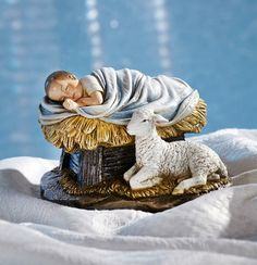 God's Gift Of Love Nativity Figure Baby Jesus With Lamb Christmas Decoration