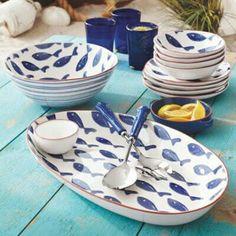 Blue fish oval platter, Sur La Table