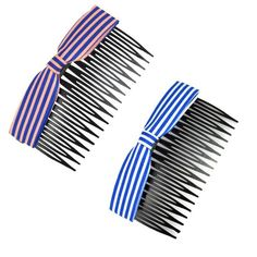 Set Of 2 Lovely Bowknot Fabric Ribbon Elegant Women Hair Clip Comb Hair Fork N *** To view further for this item, visit the image link.