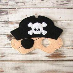 Pirate Captain Mask - Felt - Kids Mask - Costume - Dress Up - Halloween - Pretend Play