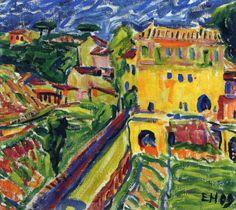 Erich Heckel (German 1883-1970) [German Expressionism, Die Brücke] Houses near Rome, 1909.