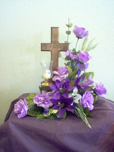 Wooden Musical Cross with  silk flowers..