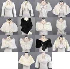 Ivory/Black Faux Fur Bridal Jacket Wedding Bolero/Stole/S​hawl/Shrug/Wra​p