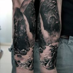 Realistic Rocks Waterfall Mens Forearm Sleeve Tattoo 3d Design