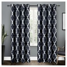 Ironwork Sateen Woven Room Darkening Window Curtain Panel Pair