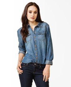 Star Print Distressed Denim Shirt   FOREVER21 - 2030187484