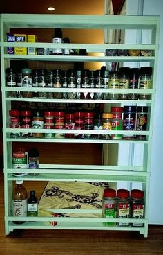 DIY Hidden Storage Canned Food Storage Cabinet and Ideas - House & Living Spice Rack On Wheels, Diy Spice Rack, Spice Rack Organiser, Spice Storage, Spice Organization, Hidden Storage, Diy Storage, Organizer, Storage Ideas