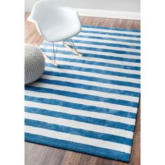 nuLOOM Handmade Modern Stripes Kids Rug (7'6 x 9'6) (Blue), Size 8' x 10' (Polyester, Geometric)