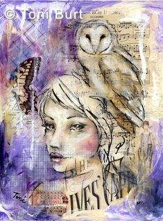 """spirit of the forest""  mixed media collage with oil paint and oil sticks.  Girl with butterfly and her spirit bird the owl."